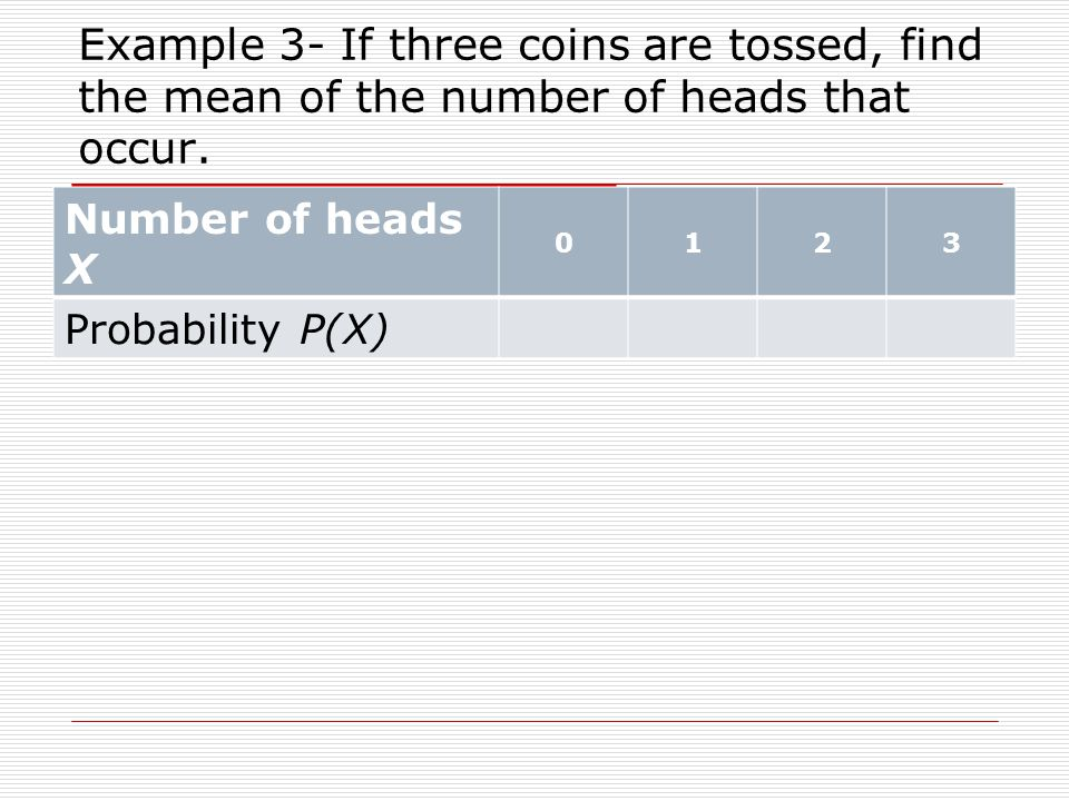 Example 3- If three coins are tossed, find the mean of the number of heads that occur.