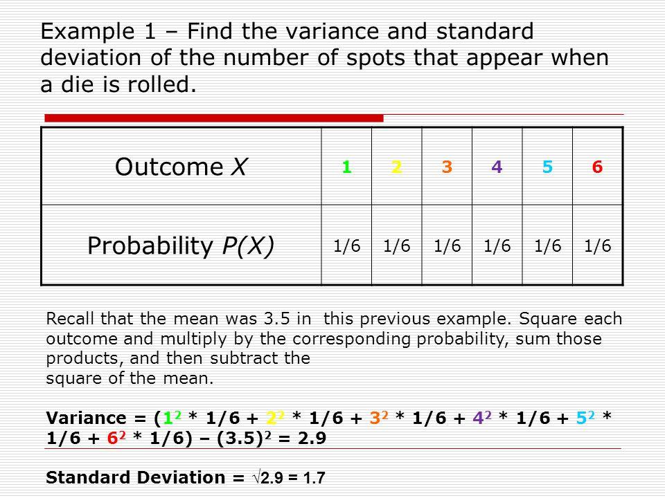 Outcome X Probability P(X)