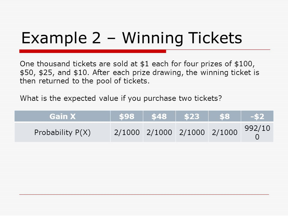 Example 2 – Winning Tickets