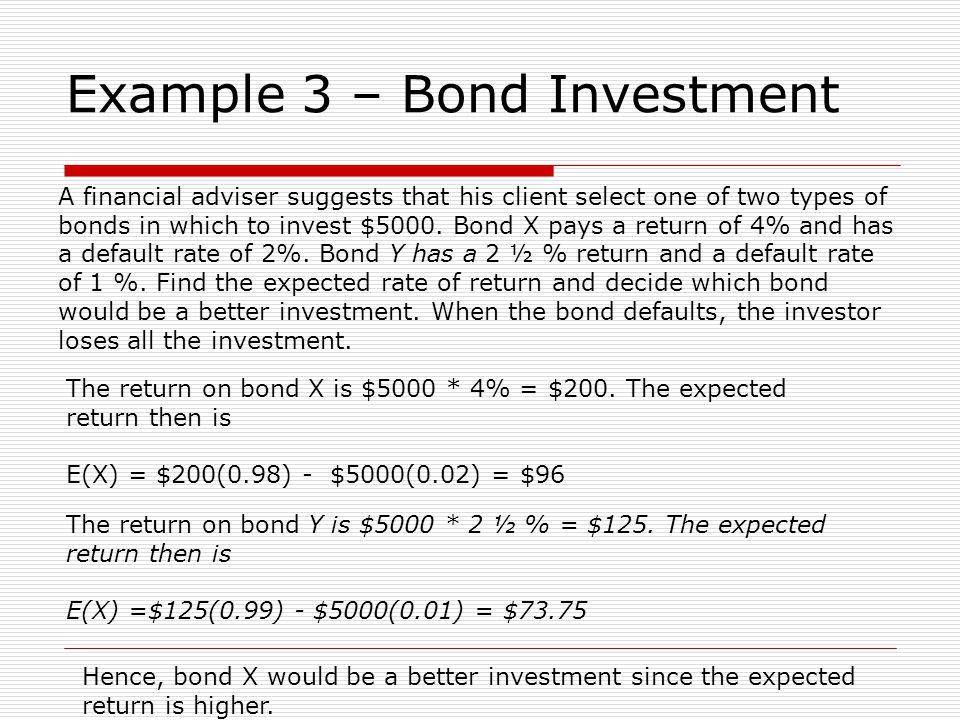 Example 3 – Bond Investment