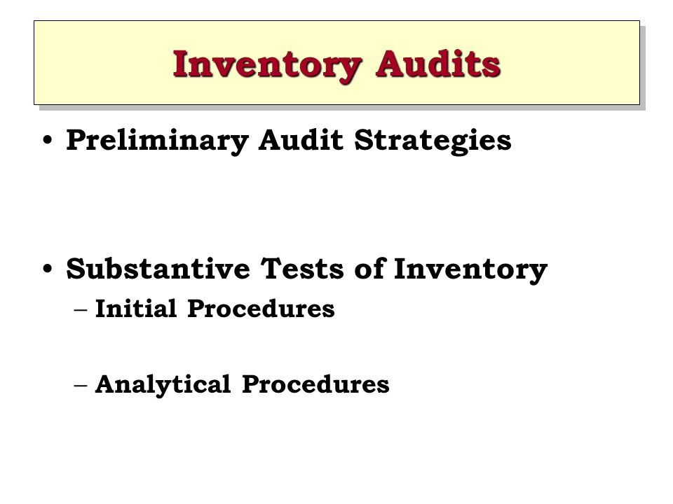 Inventory Audits Preliminary Audit Strategies