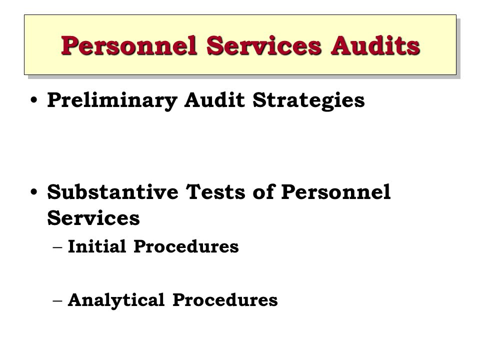 Personnel Services Audits