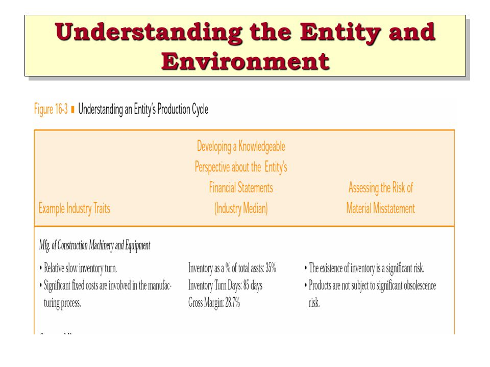 Understanding the Entity and Environment