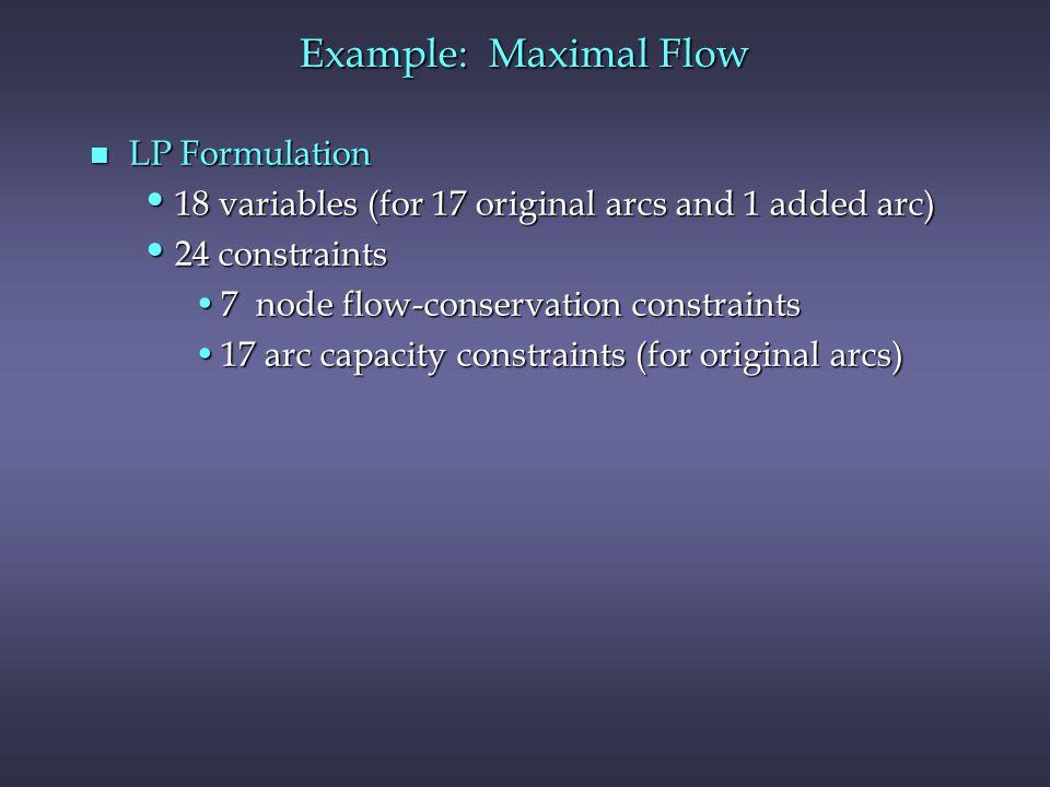 Example: Maximal Flow LP Formulation