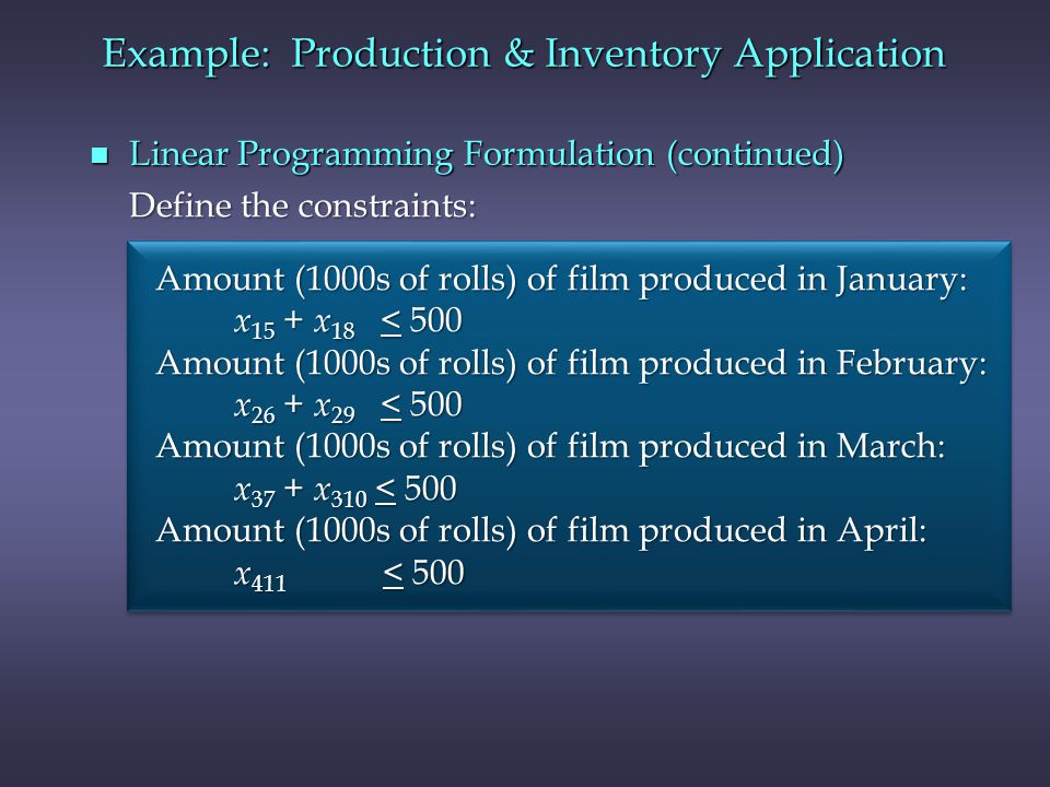 Example: Production & Inventory Application