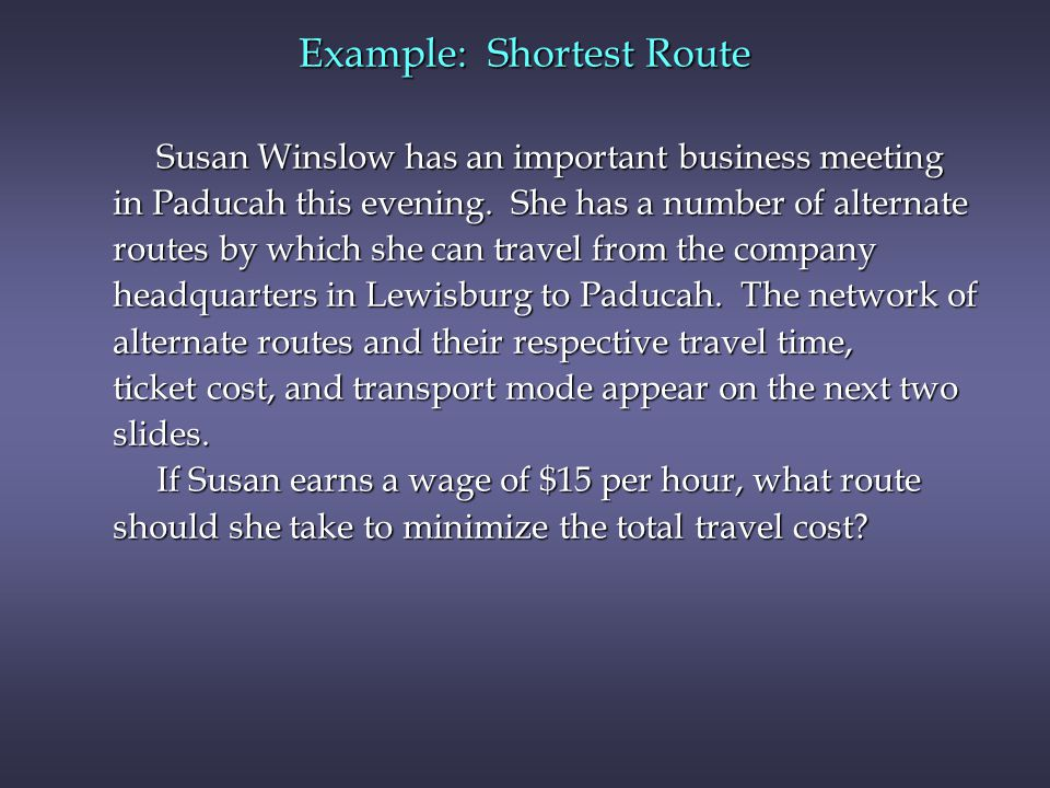 Example: Shortest Route