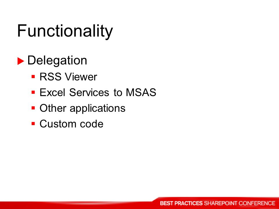 Functionality Delegation RSS Viewer Excel Services to MSAS