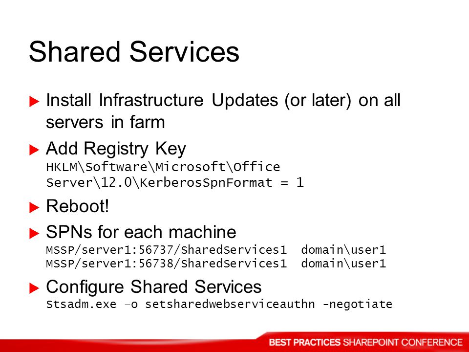 Shared Services Install Infrastructure Updates (or later) on all servers in farm.