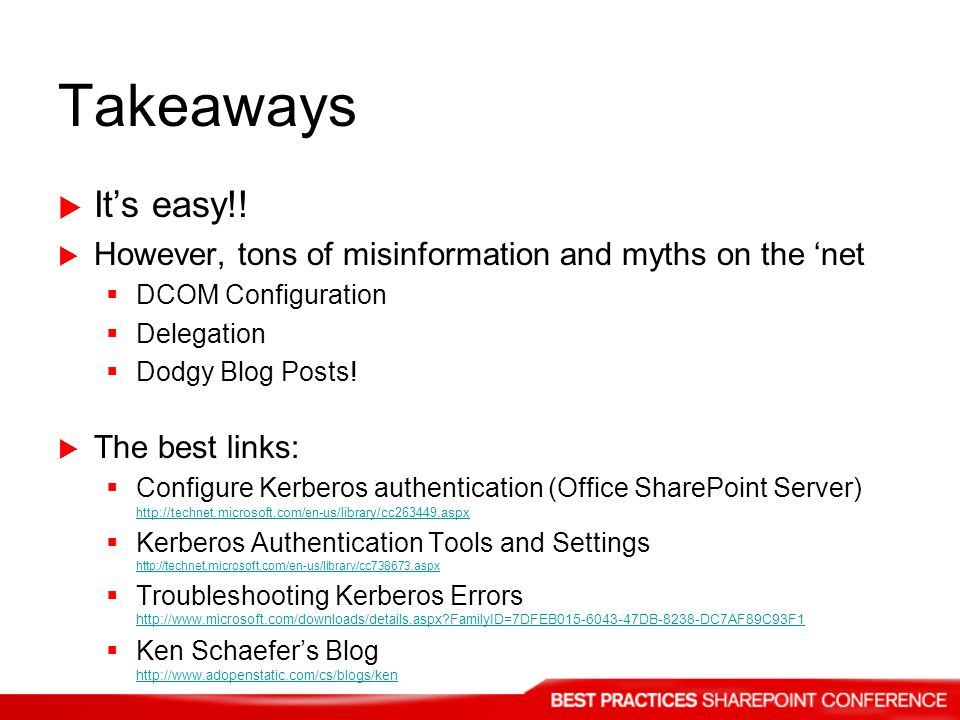 Takeaways It's easy!! However, tons of misinformation and myths on the 'net. DCOM Configuration. Delegation.