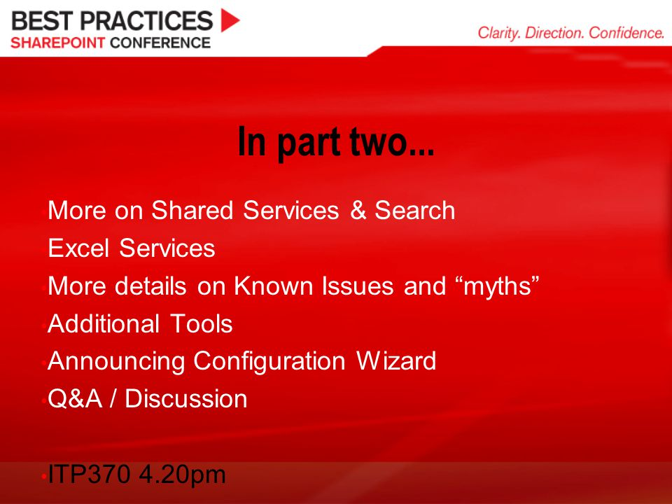 In part two... More on Shared Services & Search Excel Services