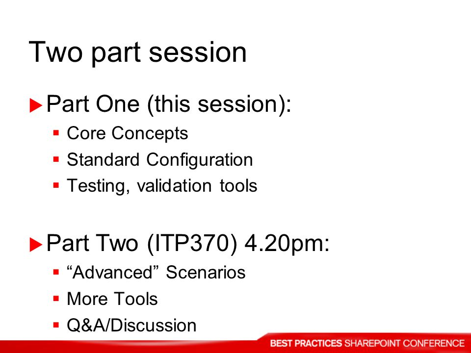 Two part session Part One (this session): Part Two (ITP370) 4.20pm: