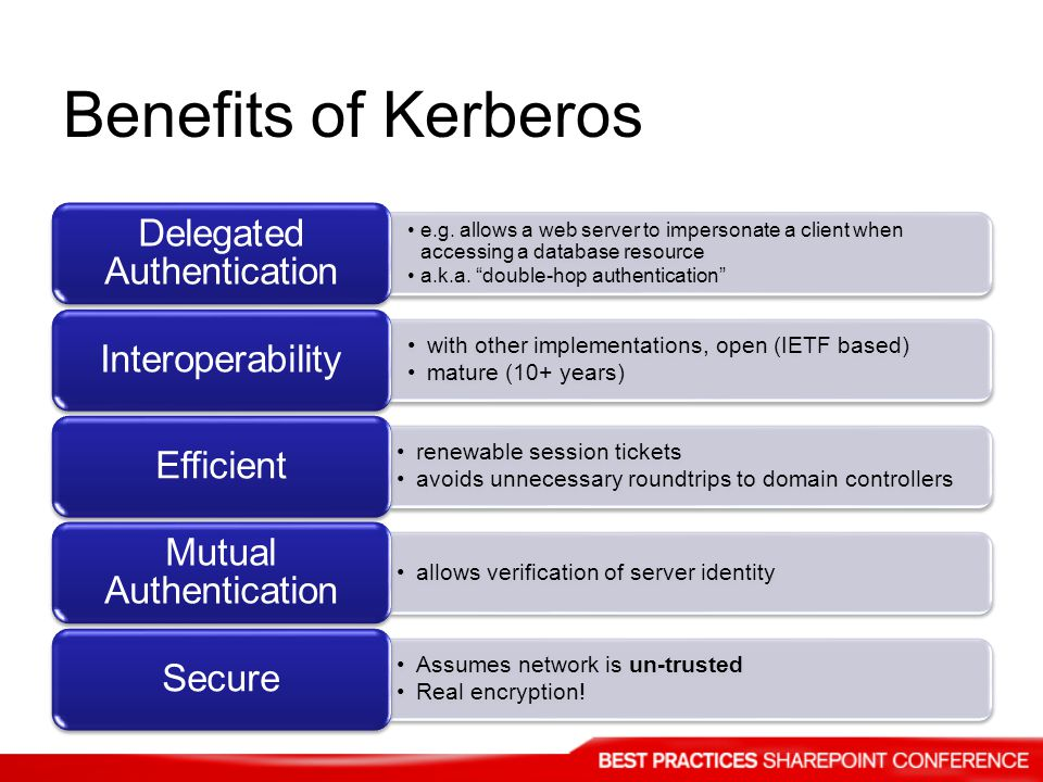Benefits of Kerberos with other implementations, open (IETF based)