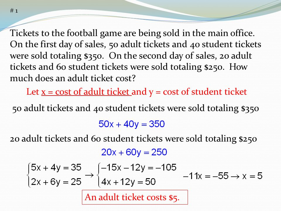 Let x = cost of adult ticket and y = cost of student ticket