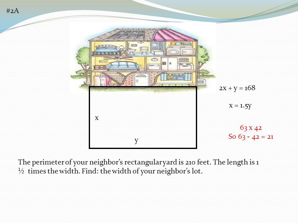 #2A 2x + y = 168. x = 1.5y. x. 63 x 42. So 63 - 42 = 21. y.
