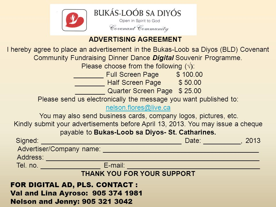 THANK YOU FOR YOUR SUPPORT ADVERTISING AGREEMENT