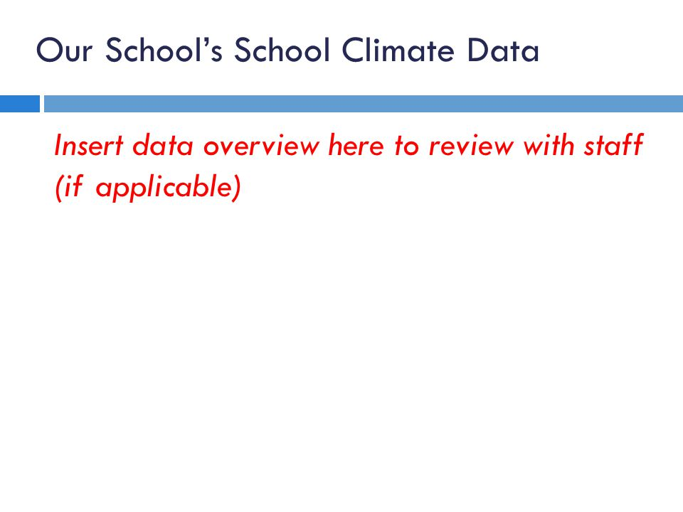 Our School's School Climate Data