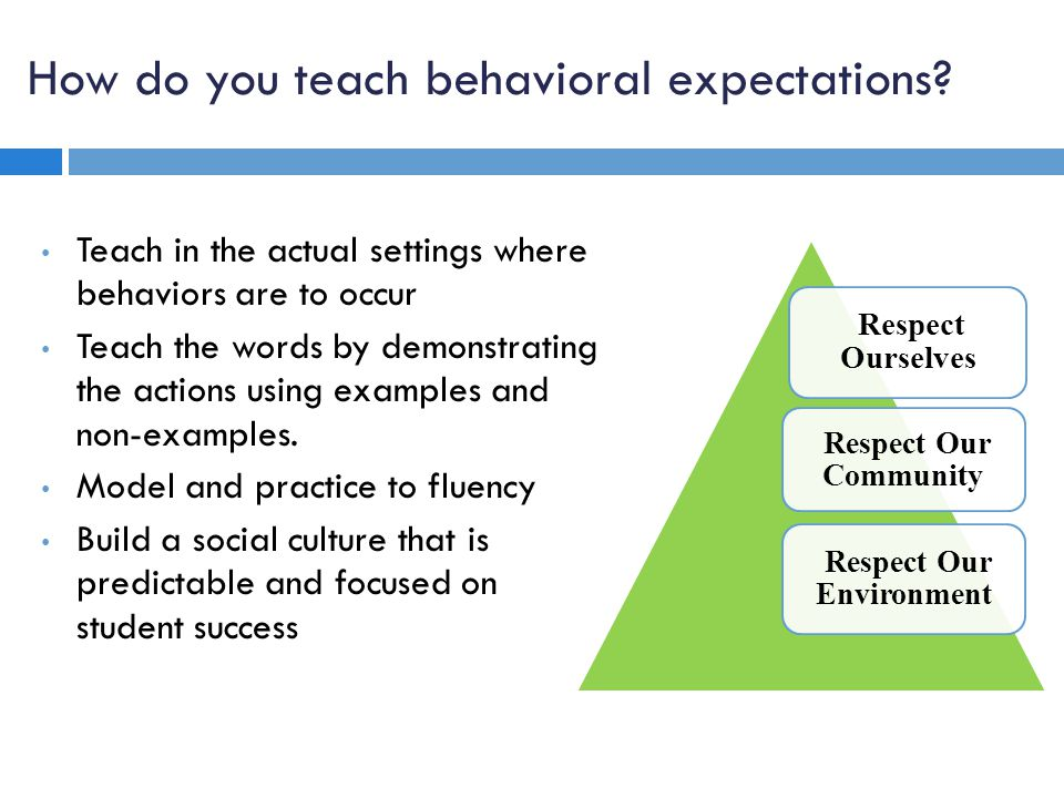 How do you teach behavioral expectations