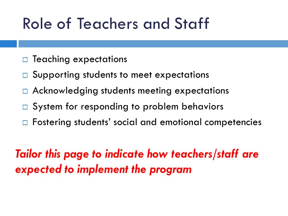Role of Teachers and Staff