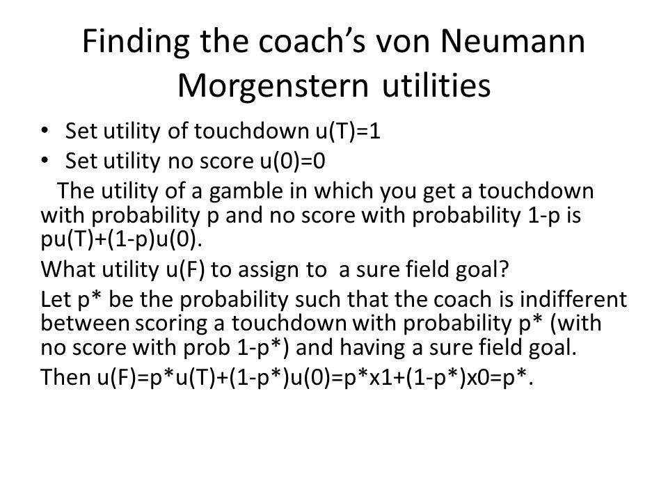 Finding the coach's von Neumann Morgenstern utilities