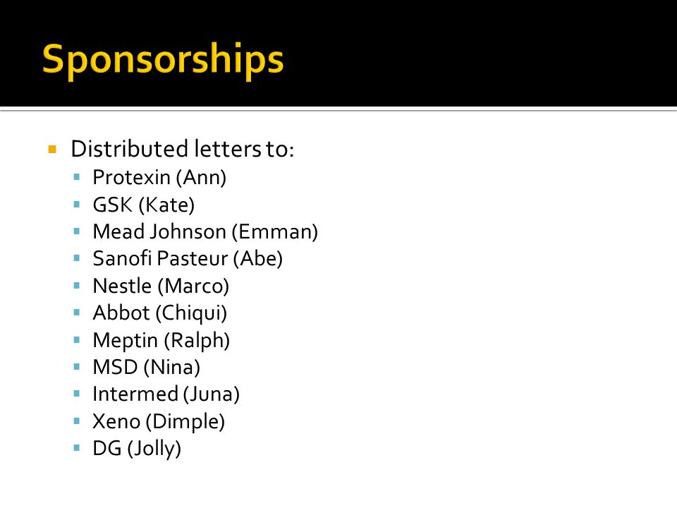 Sponsorships Distributed letters to: Protexin (Ann) GSK (Kate)