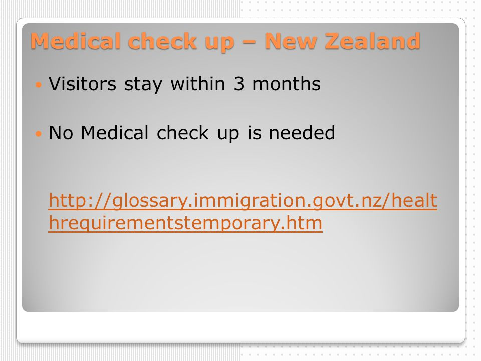 Medical check up – New Zealand