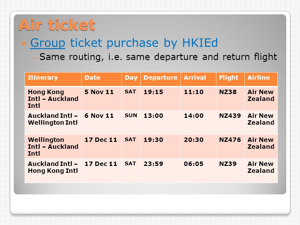 Air ticket Group ticket purchase by HKIEd