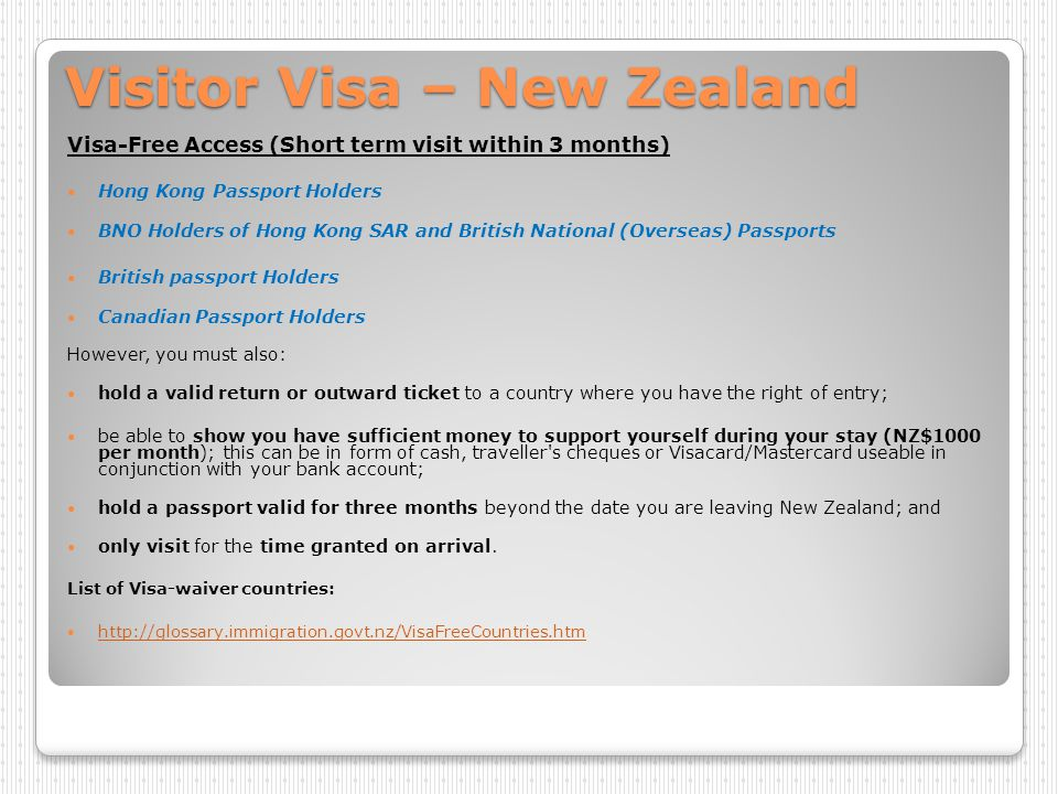 Visitor Visa – New Zealand