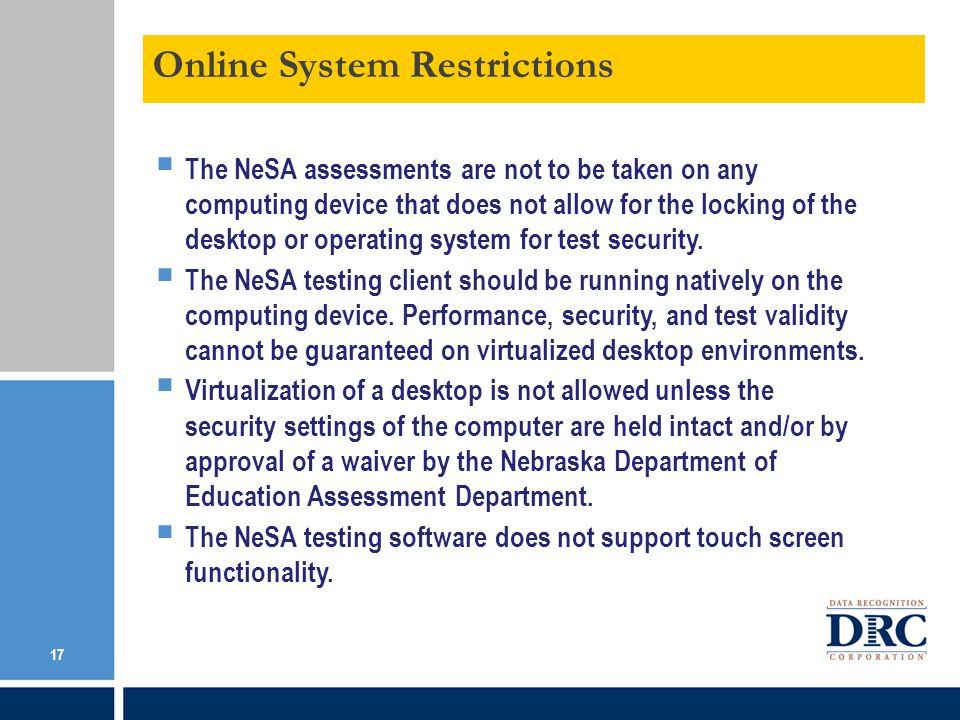 Online System Restrictions