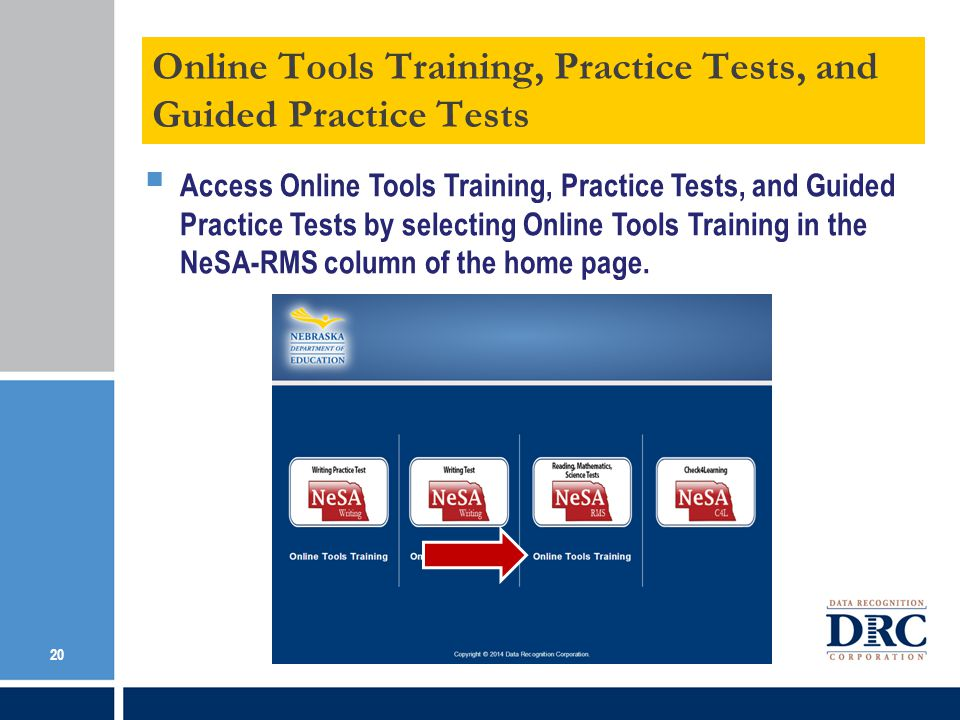 Online Tools Training, Practice Tests, and Guided Practice Tests