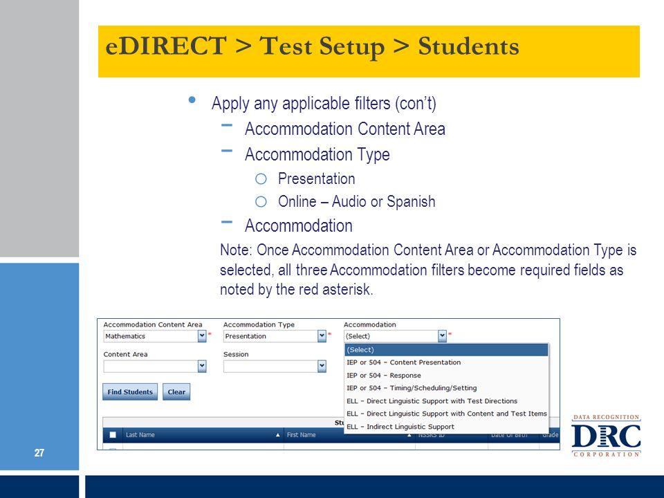 eDIRECT > Test Setup > Students