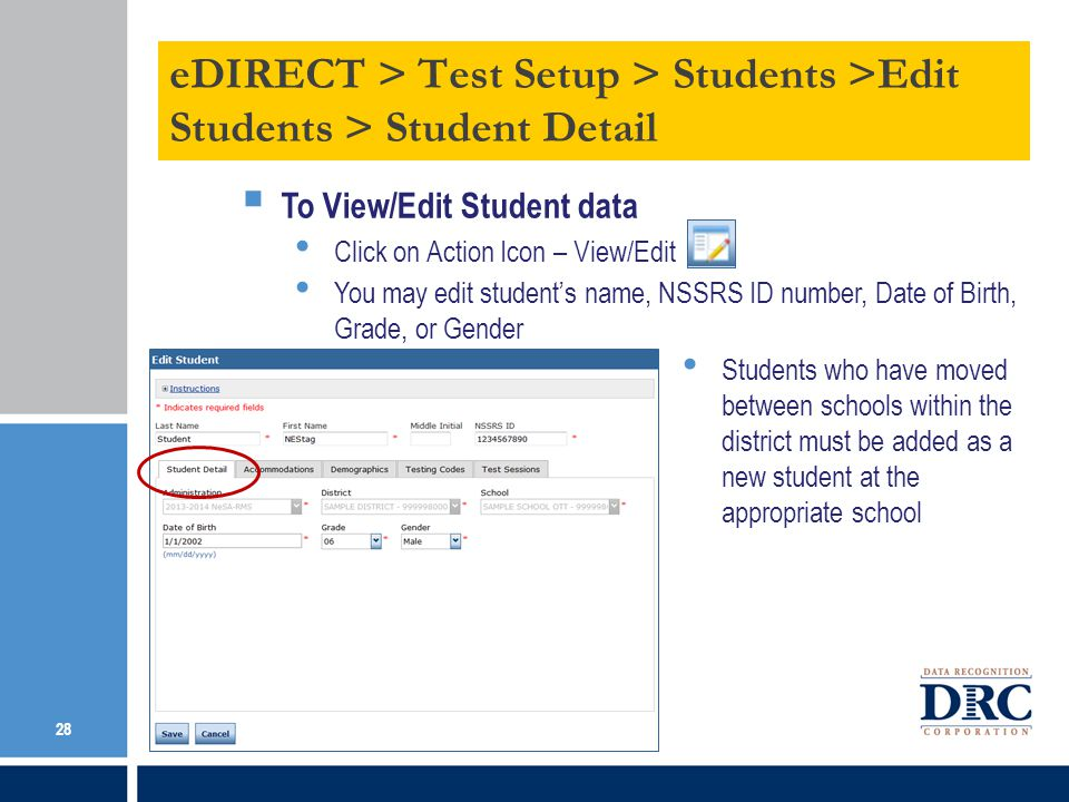 eDIRECT > Test Setup > Students >Edit Students > Student Detail