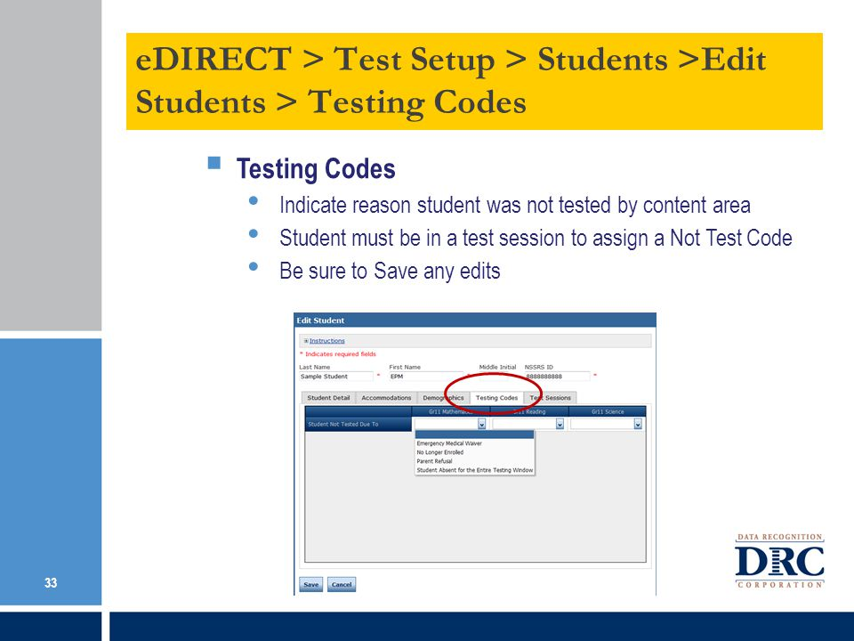 Online Testing > Management Tools > Data Tools > Add a Student