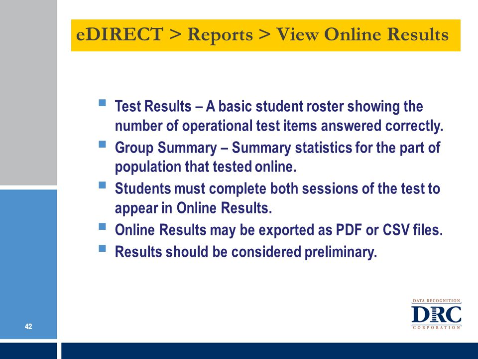 eDIRECT > Reports > View Online Results