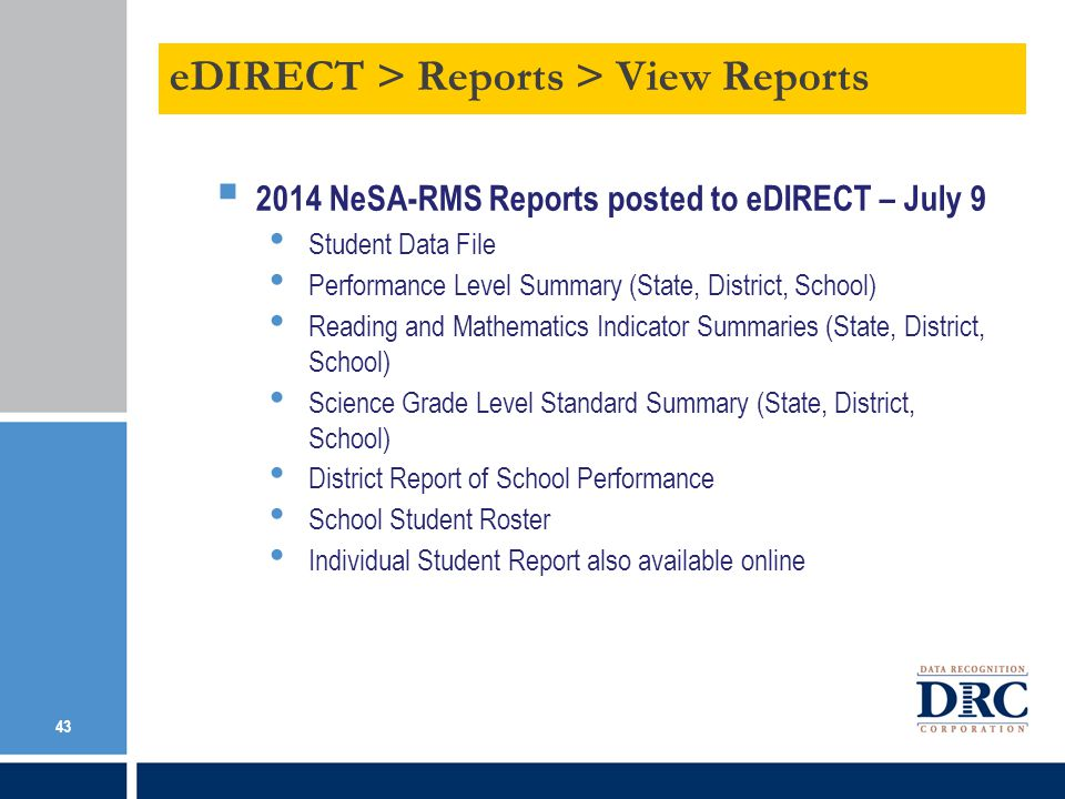 eDIRECT > Reports > View Reports