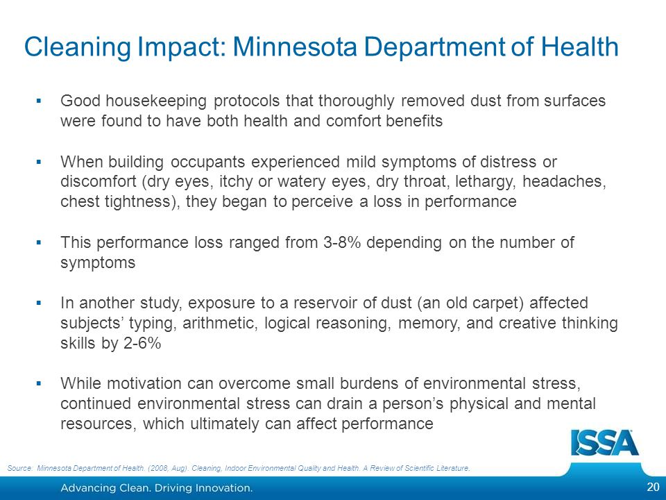 Cleaning Impact: Minnesota Department of Health