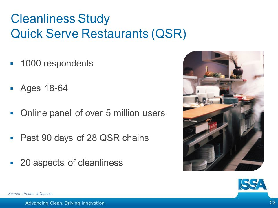 Cleanliness Study Quick Serve Restaurants (QSR)