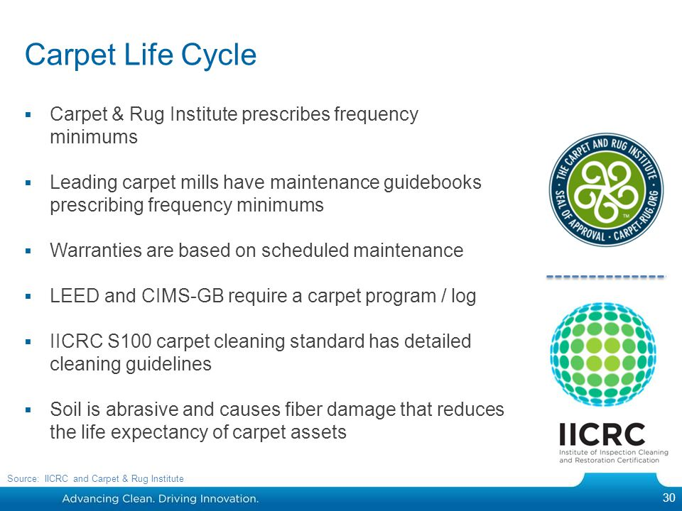 Carpet Life Cycle Carpet & Rug Institute prescribes frequency minimums