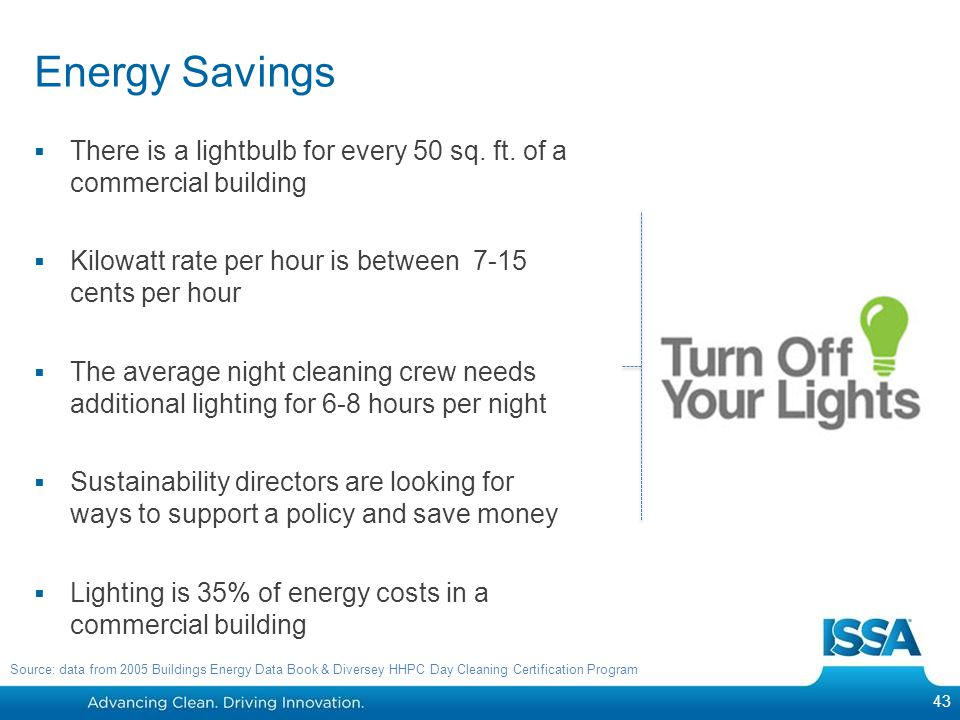 Energy Savings There is a lightbulb for every 50 sq. ft. of a commercial building. Kilowatt rate per hour is between 7-15 cents per hour.
