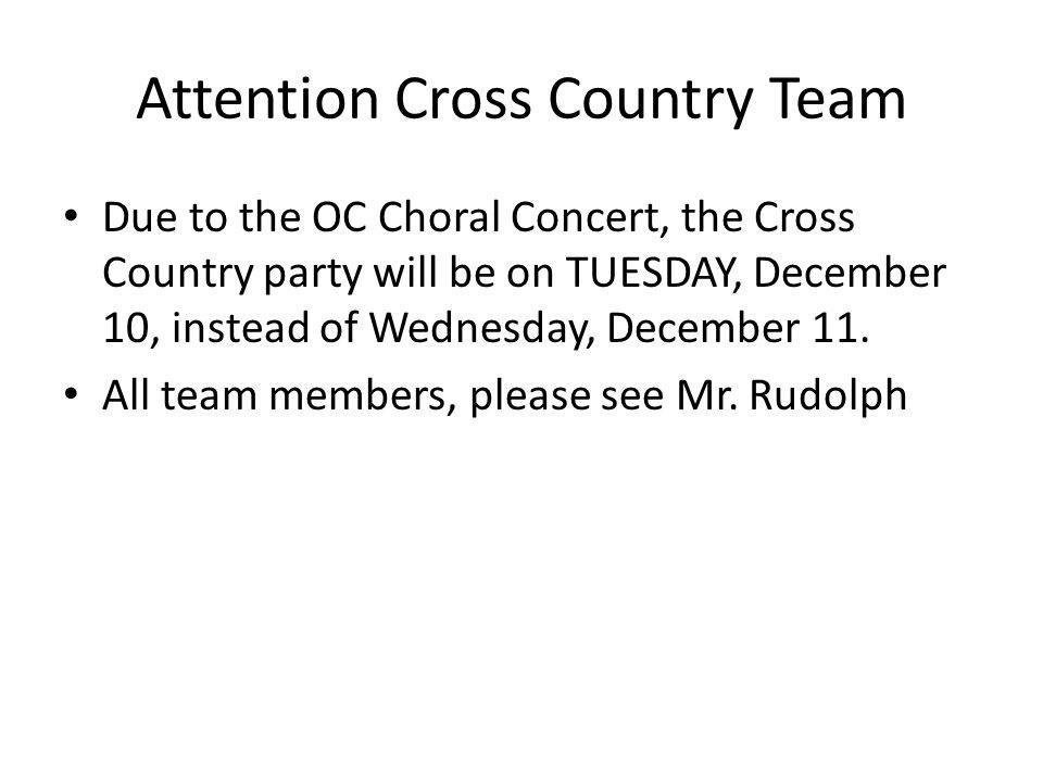 Attention Cross Country Team
