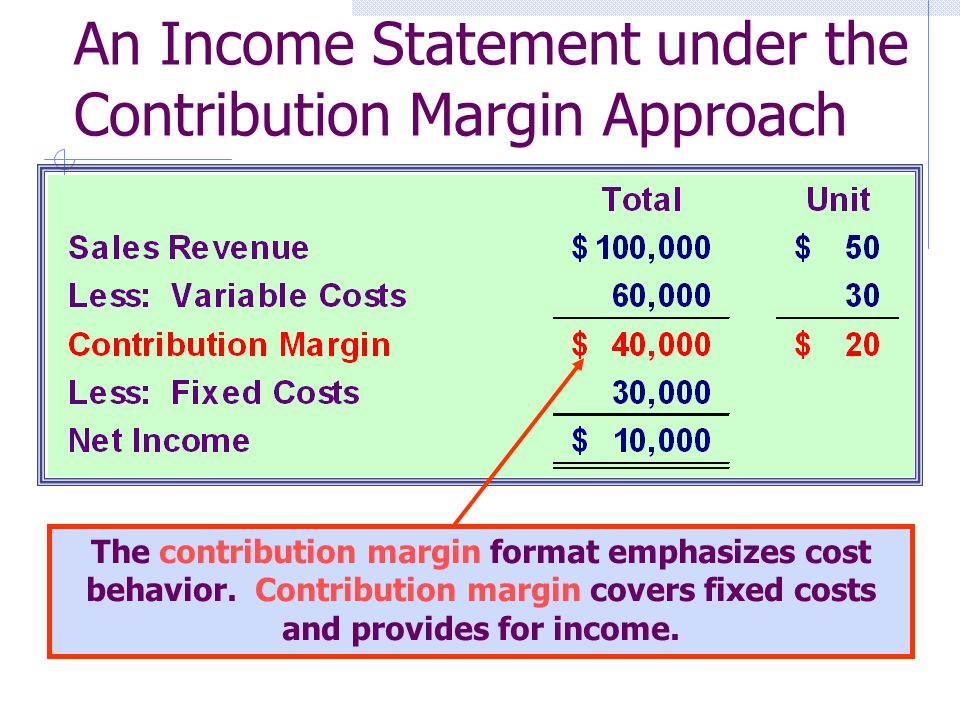 An Income Statement under the Contribution Margin Approach