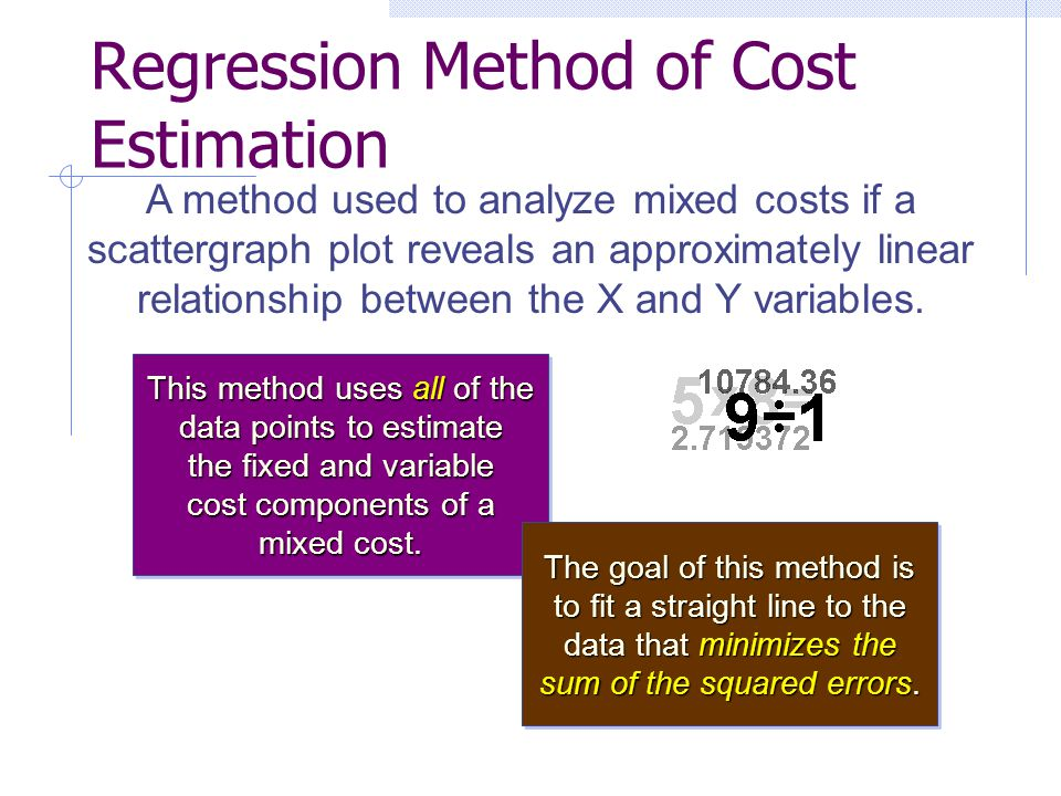 Regression Method of Cost Estimation