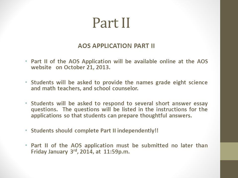 AOS APPLICATION PART II