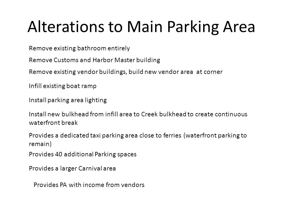 Alterations to Main Parking Area