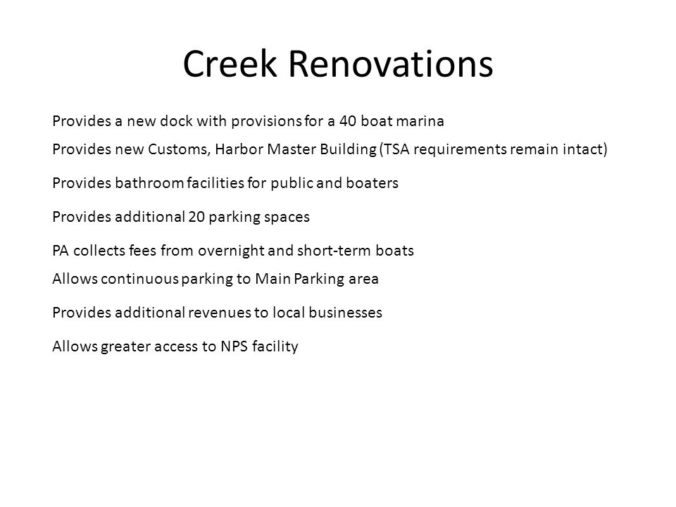 Creek Renovations Provides a new dock with provisions for a 40 boat marina.