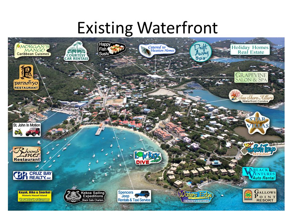 Existing Waterfront View of Cruz Bay waterfront from the air