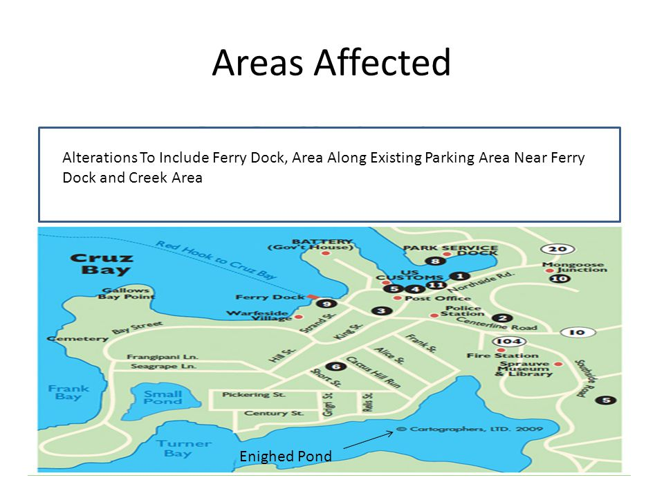 Areas Affected Alterations To Include Ferry Dock, Area Along Existing Parking Area Near Ferry Dock and Creek Area.