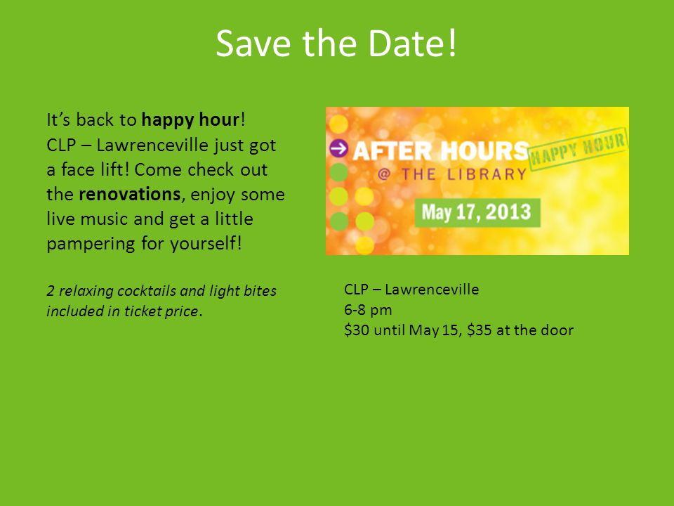 Save the Date! It's back to happy hour!