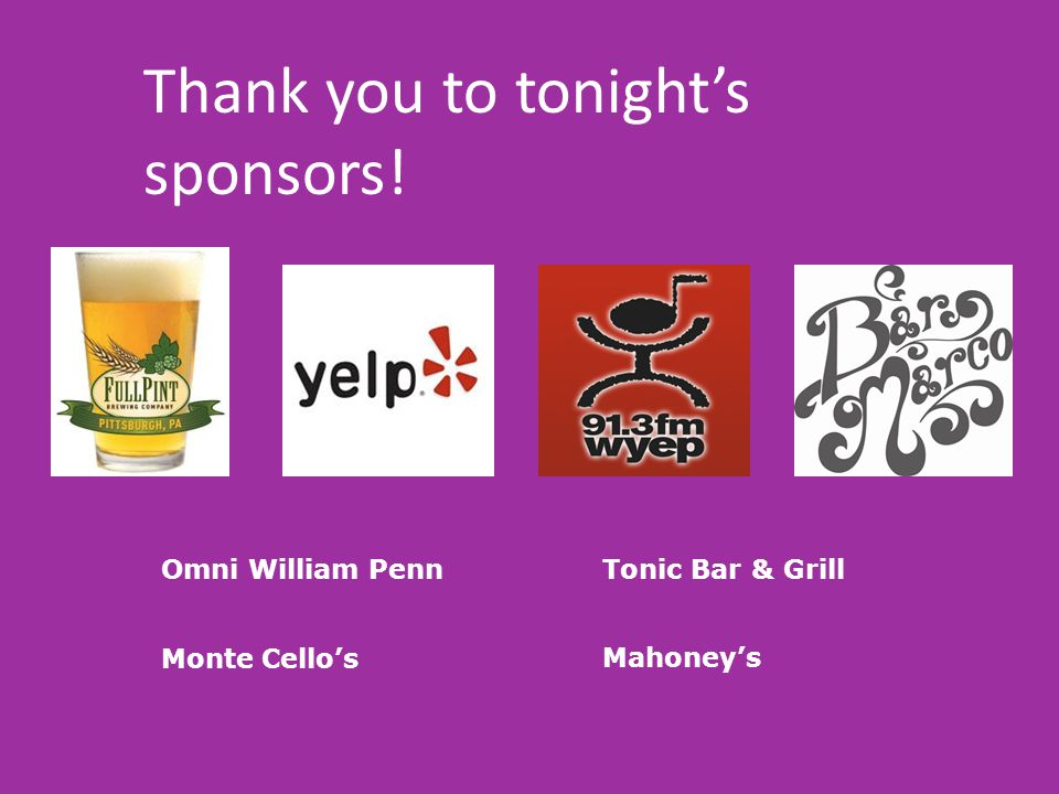 Thank you to tonight's sponsors!