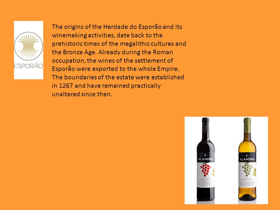 The origins of the Herdade do Esporão and its winemaking activities, date back to the prehistoric times of the megalithic cultures and the Bronze Age.