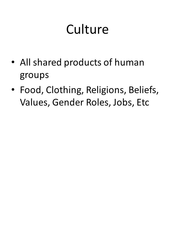 Culture All shared products of human groups